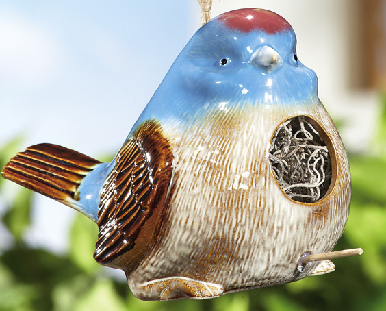Chubby Blue Bird W/ Crackle Finish Ceramic Hanging Bird House