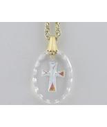 Swarovski Crystal Pendant AB Etched Cross Oval ... - $19.99