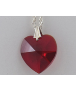 Swarovski Crystal Necklace Red Heart 18MM Silve... - $19.99