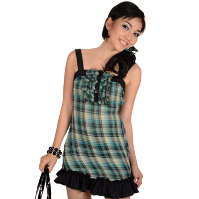 Sophistix - Miranda Green Plaid Sleeveless Dress : Sizes S M L XL