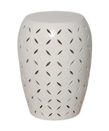 WHITE GLOSSY, LATTICE Ceramic GARDEN STOOL, Ind... - $249.00