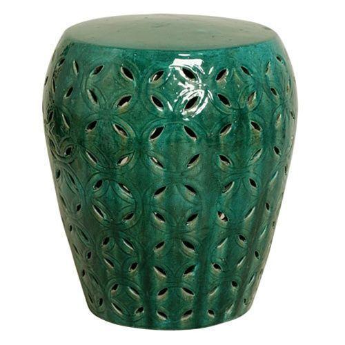 Deep Green Lattice Ceramic Garden Stool Indoor Or Outdoor