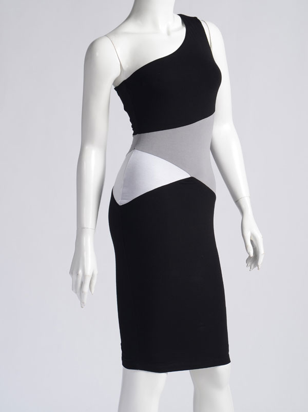 Marciano One Shoulder Color Block Bodycon Dress Size S & M
