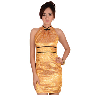 Sophistix - Mona Gold Sleeveless Mandarin Dress : Sizes S M L XL