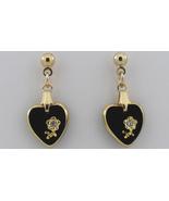 Swarovski Crystal Earrings Black Heart Intaglio... - $21.99