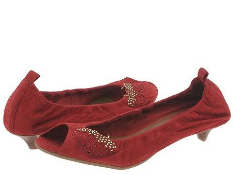 Womans Red Suede Kitten Heels Shoe Pump Strawberry SIZE 8