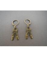Ballet Slippers Earrings Antique Brass Handmade - $10.50