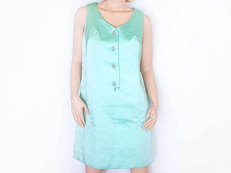 Vintage 60's Teal Satin Dress with rhinestone covered Lucite Buttons M L
