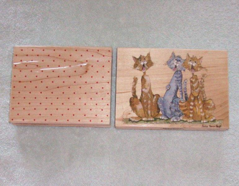 2 Stamps w Wooden Mounts Kitty Chorus Heart Background