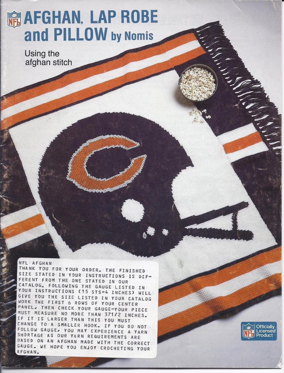 Crocheting Is Hard : ~Nomis~30~NFL Crochet Afghan~Lap Robe & Pillow Patterns Leaflet~HARD ...