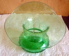 Blown Crackle Glass Green Bowl Vintage Jack In The Pulpit