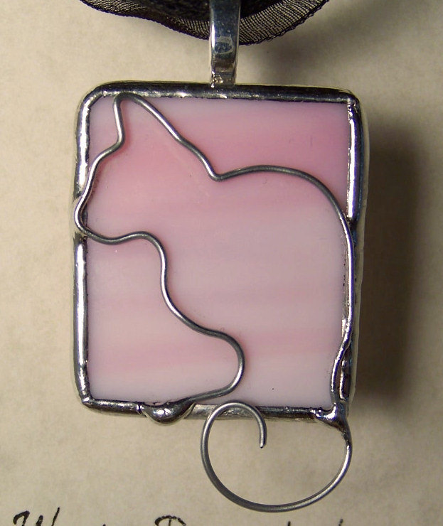Cat Lover Pink Tiffany Stained Glass & Silver Wire Soldered Pendant or Charm Nec