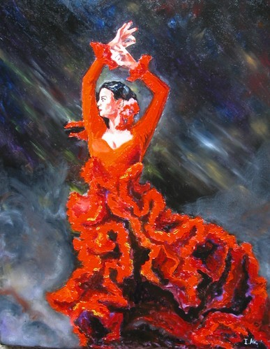 "Akimova: FLAMENCO DANCE,ballet,16""x20"", oil on stretchet canvas (ready to hang)"