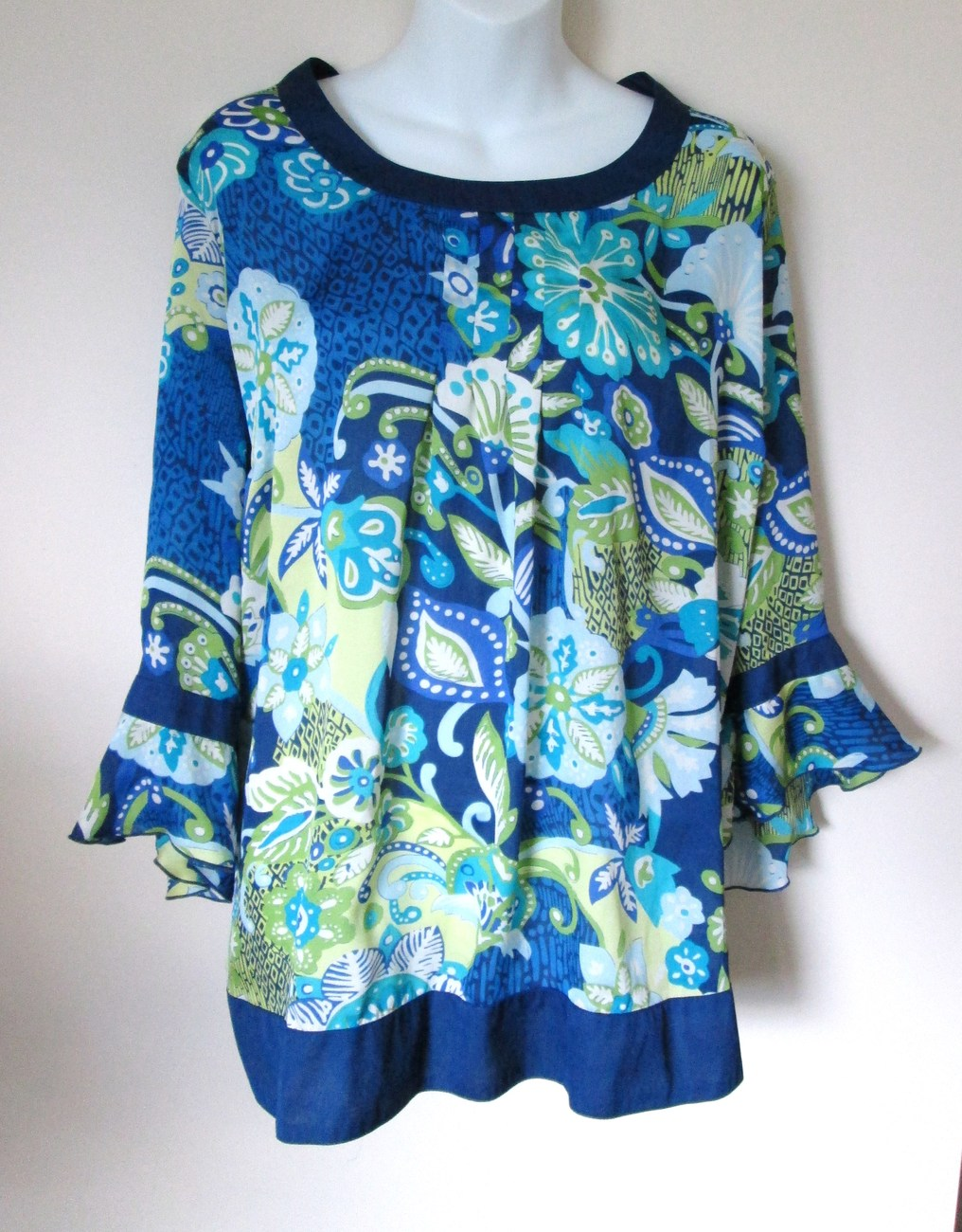 Avenue Womens Plus 26 28 Tunic Top Blue Green Floral Chiffon 3/4 Sleeve Nwot