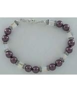 Swarovski Crystal Bracelet Pearl Burgundy Clear... - $22.99
