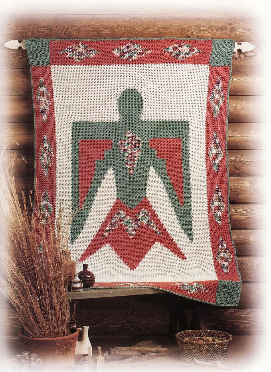 Thunderbird Afghan Crochet Pattern Blanket Throw Wall