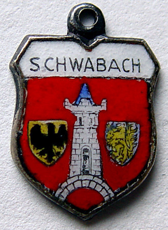 Coat of Arms Souvenir Charm - 800 Silver and Enamel Schwabach by REO