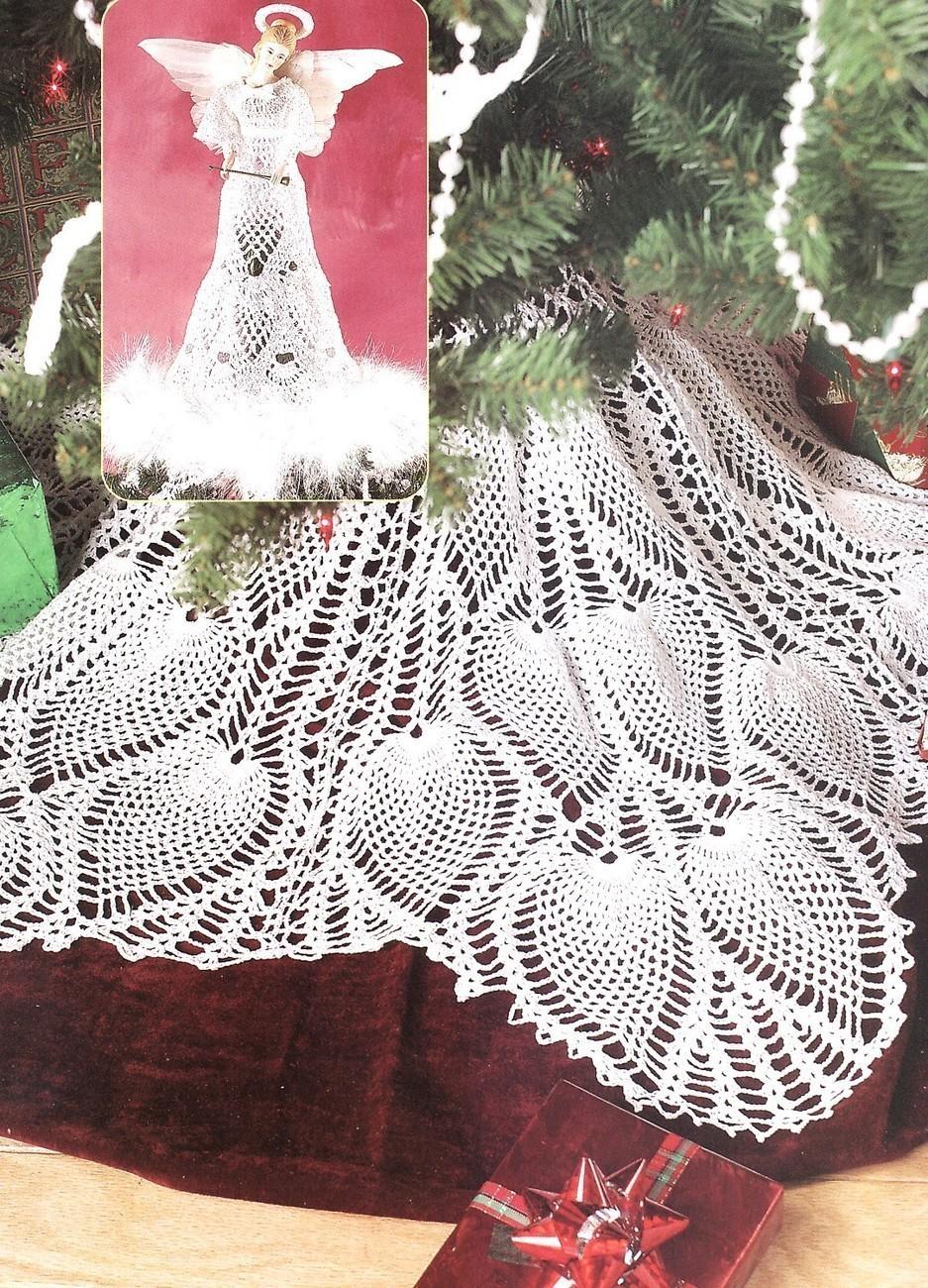 Free Crochet Pattern For Christmas Skirt : Pineapple Tree Skirt & Angel Topper Crochet Patterns ...