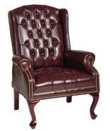 Oxblood Vinyl Tufted Back Queen Anne Wing Back ... - $279.99