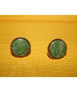Round green jadite like stone on goldtone base ... - $16.99