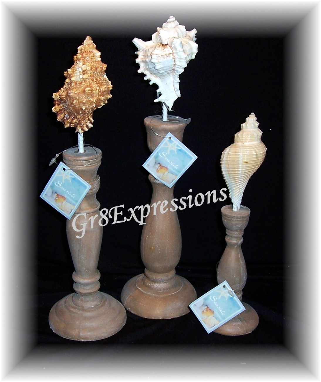 SEASIDE COLLECTION~SET of 3 DECORATIVE SEASHELL FINIALS