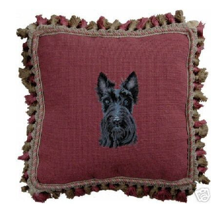 Scottish Terrier Petit Point Pillow