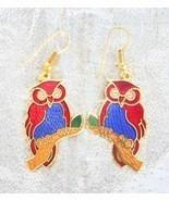 Colorful Cloisonne Enamel Owl Earrings Bohemian... - $14.95