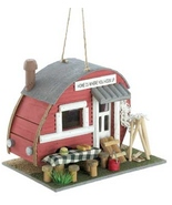 birdhouse campground wood trailer bird house - $10.55