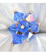 Mid Century Modern Crystal Rhinestone Blue Auro... - $12.95