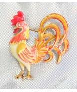 Fantastic Robert Handpainted  Enamel Rooster Br... - $39.95