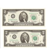 1976 $2 Dollar Bills 2 Uncirculated Sequence - $37.95