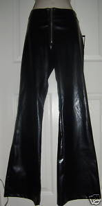 Womens Ladies Juniors Black Faux Leather Hip-Hugger Sext Party Club Pants 7
