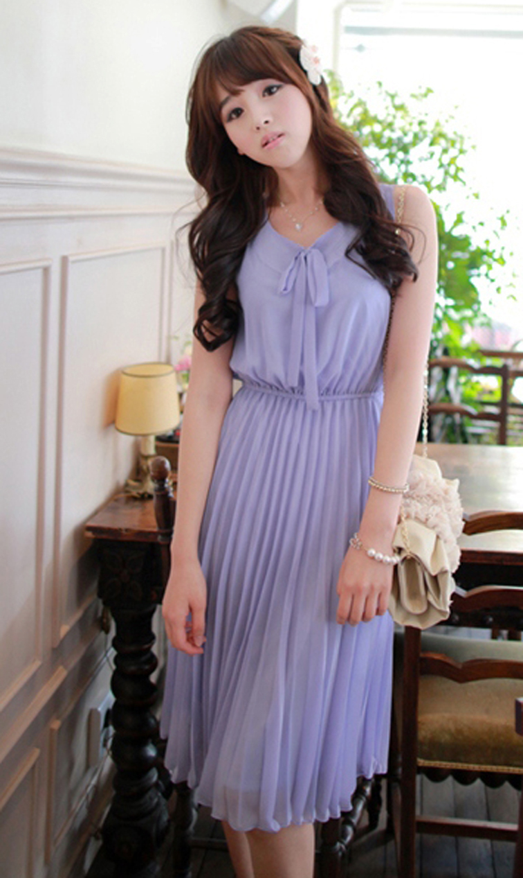 Classy Lady. Sweet Ribbon Lavender Chiffon Pleated Dress. Light Purple