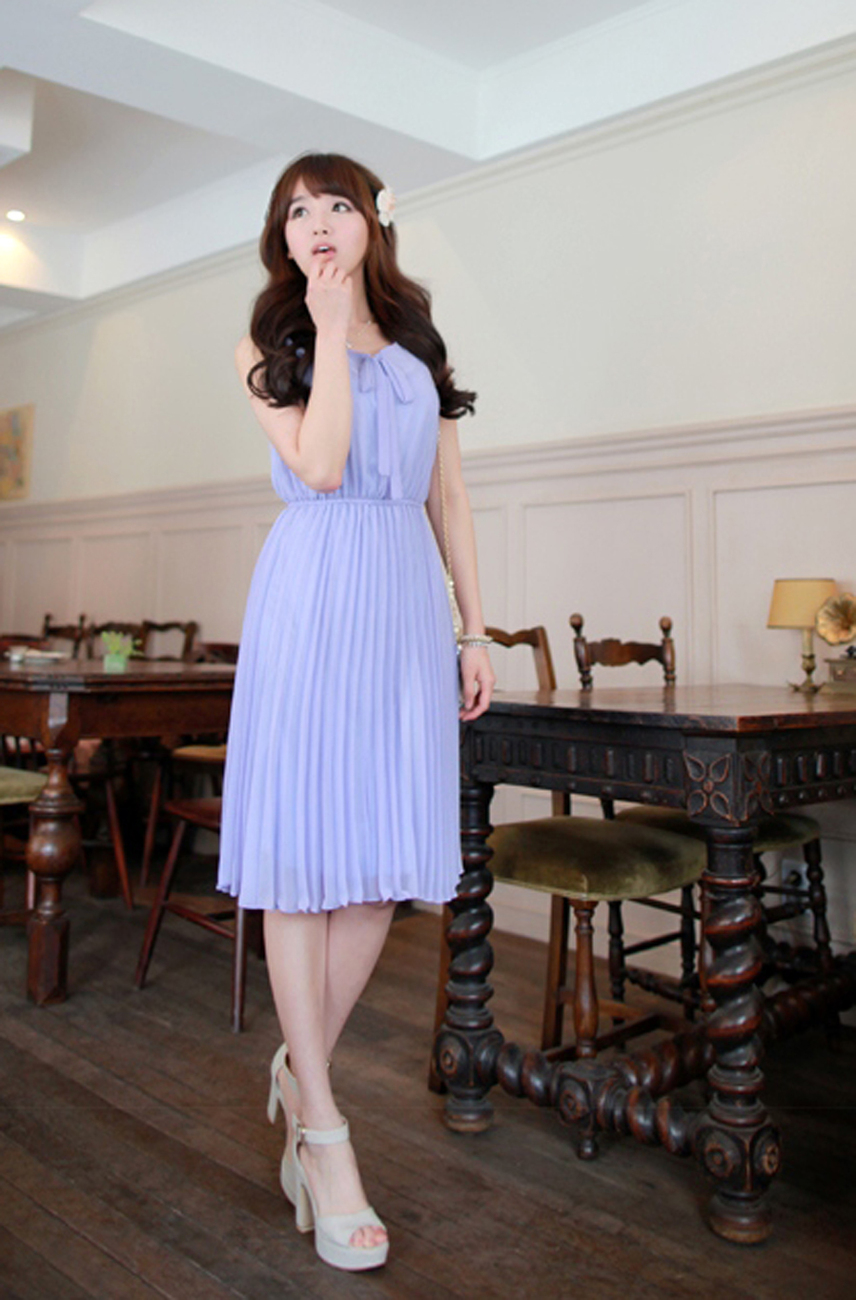 2012_spring_summer_chiffon_dress_pleated_lavender_full