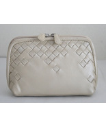 NEW SOFT Genuine Woven LEATHER MAKE UP CASE COS... - $16.99