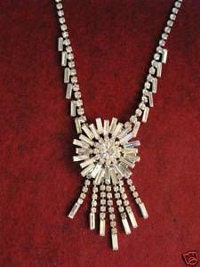Rhinestone Necklace MINT 1950's WOW GLAMOUROUS Vintage