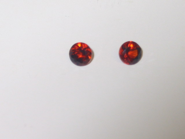 1/2 ct.tw. Pair of Genuine Round MADEIRA CITRINE AA Faceted Gemstones 4mm each
