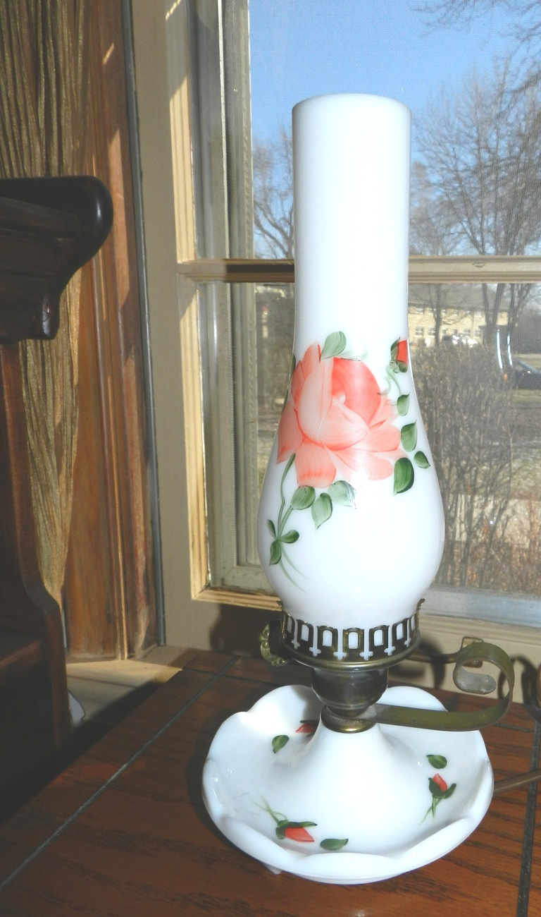 Vintage Rose Painted Milk Glass Hurricane  Lamp