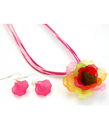 3D Flower 16 inch long crystal necklace and ear... - $8.00