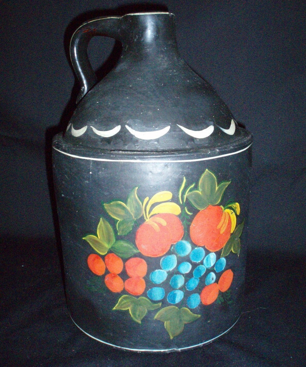 antique jug whiskey pottery hand painted fruit doorstop
