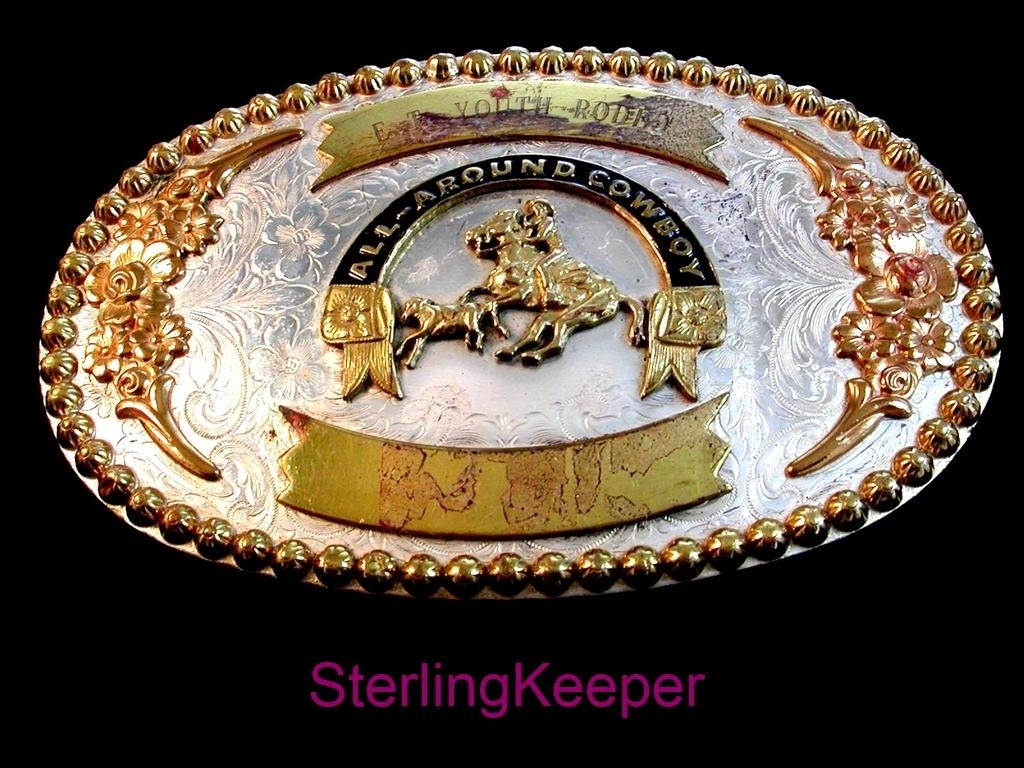 Vintage E. T. Youth Rodeo All Around Cowboy Calf Roping Belt Buckle