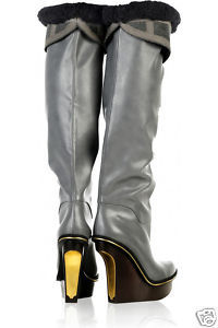 $1995 Stella McCartney RUNWAY Grey Faux Fur Tall Wedge Boots 39.5 / 9
