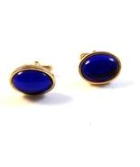 Vintage 1950's - 70's Gold Tone Sparkly Blue Stone Anson Cufflinks - $22.99