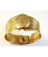 Vintage 1940's Gold Tone Locket Clamper Bracele... - $32.99