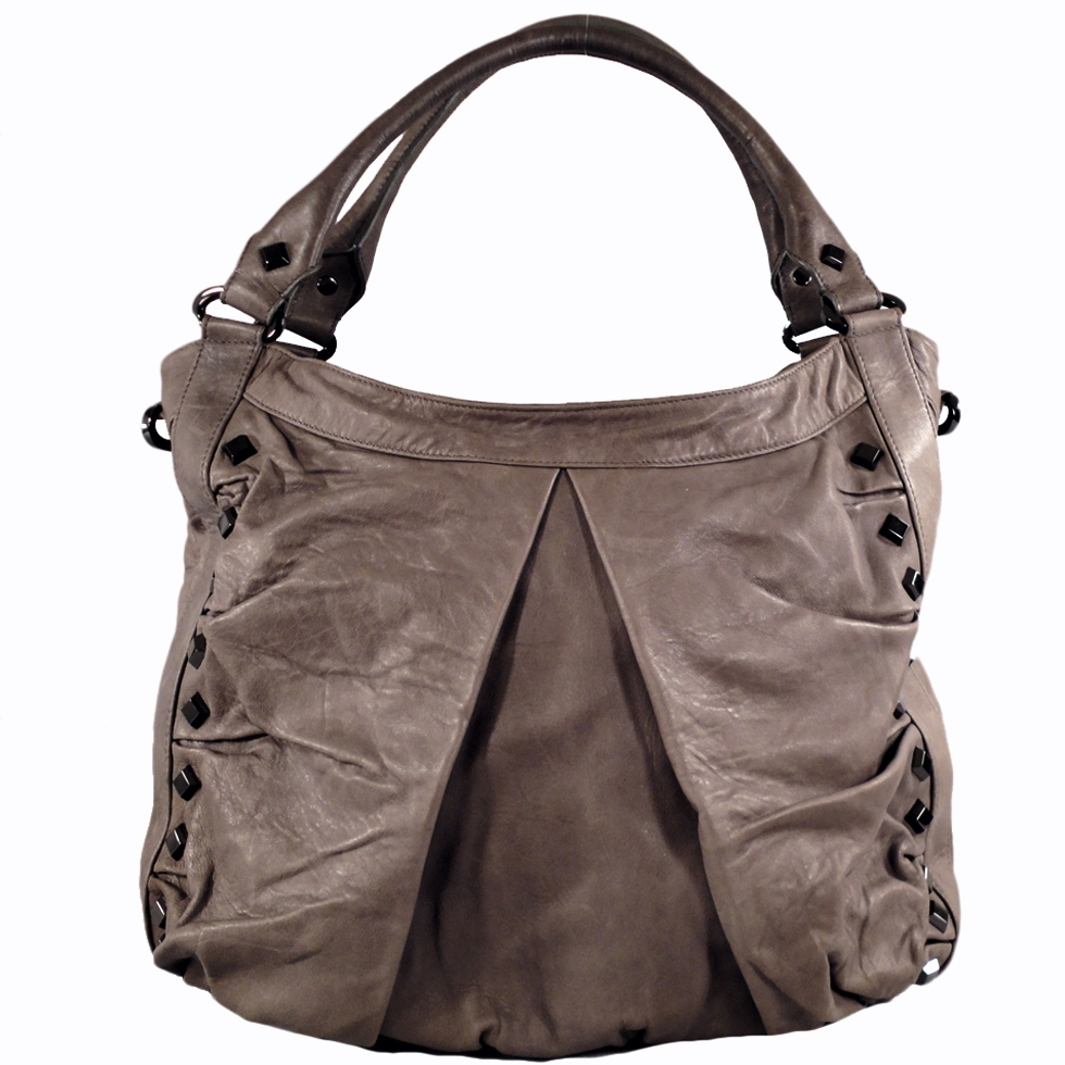 TREESJE Marley Grey Buttersoft Leather Hobo Shoulder Bag