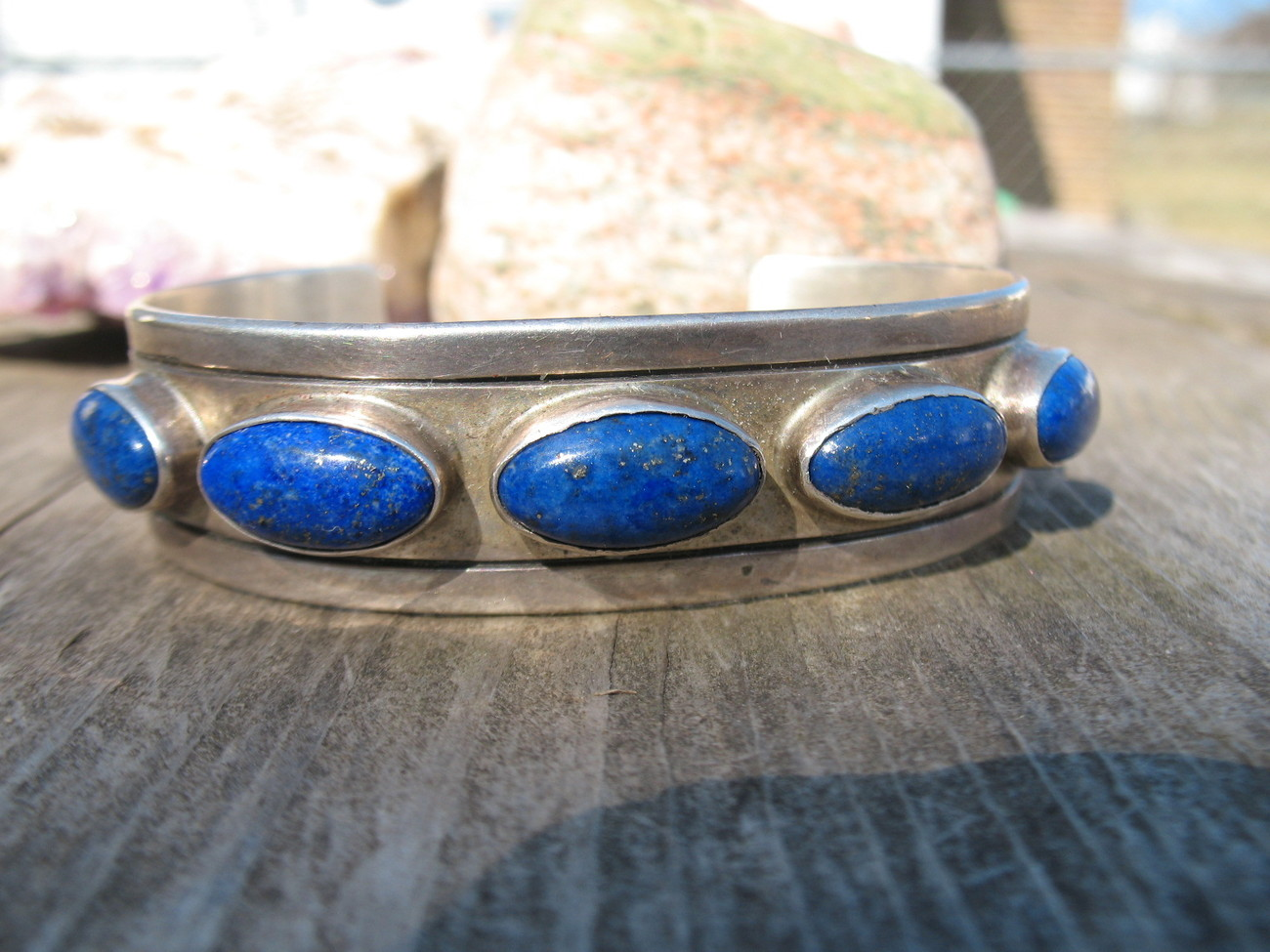 Navajo Lapis Bracelet Sterling Silver Indian Cuff signed