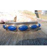 Navajo Lapis Bracelet Sterling Silver Indian Cu... - $225.00