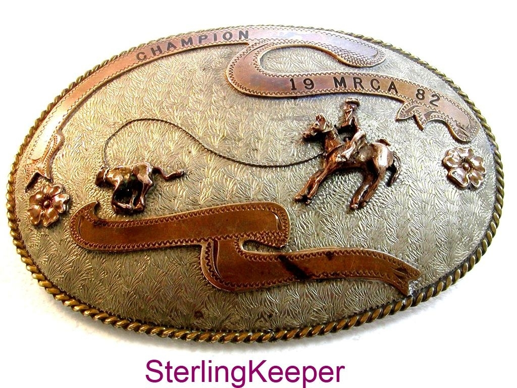 1982 MRCA Champion Rodeo Western Cowboy Calf Roping Belt Buckle