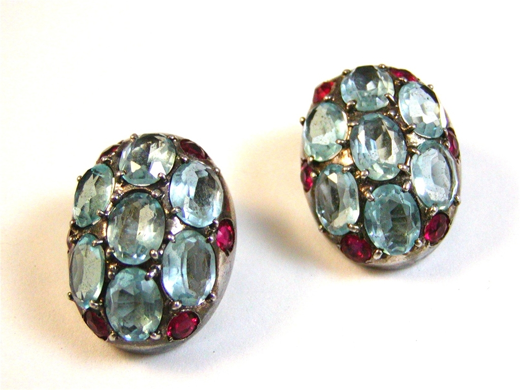 1940 -50s Sterling Silver Red Blue Rhinestone Earrings - a