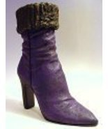 Purple Dream Boot Persian Lamb Trim Spike Heel ... - $24.99